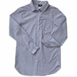 H&M Women's Blue Striped Button Up Dress Shirt,sz2